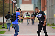 Norfolk State University students greet each other before heading to class.