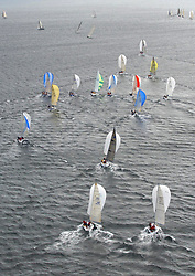 The third days racing at the Bell Lawrie Yachting Series in Tarbert Loch Fyne <br /> <br /> Perfect conditions finally arrived for competitors on the three race courses.<br /> <br /> Class one competitors speed off downwind.
