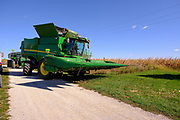 30 SEPTEMBER 2020 - WOODWARD, IOWA: on Lambert family land in Woodward. Lambert said it would take near twice as long to combine this year's corn compared to last year's because of damage to fields caused by the derecho wind storm that roared through central Iowa in August. The derecho wind storm damaged more than 550,000 acres of Iowa cornfields. In addition to derecho damage, Iowa farmers are wrestling with drought related damage. A persistent drought in central Iowa has stunted corn plants and reduced yields. Because of the unusually dry weather, this year's harvest is three weeks ahead of last year's and nine days ahead of average.        PHOTO BY JACK KURTZ