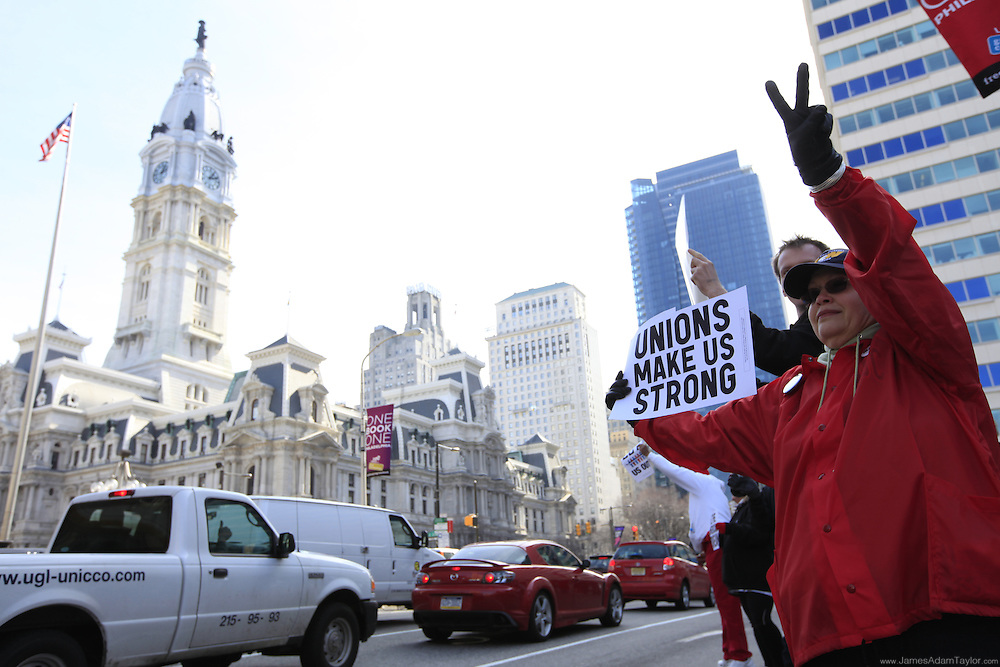 Demonstrators at the Solidarity Rally on Feb 28, 2011 Philadelphia, PA