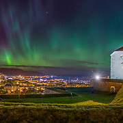 A very beautiful night over TRondheim. View from  Kristiansten Festnin. Kristiansten Festning, historically spelled Christiansten) is located on a hill east of the city of Trondheim in Sør-Trøndelag county, Norway. It was built after the city fire of Trondheim in 1681 to protect the city against attack from the east. Construction was finished in 1685. It fulfilled its purpose in 1718 when Swedish forces laid siege against Trondheim. The fortress was decommissioned in 1816 by king Charles XIV John. Please feel free to check my photos here or find me by:  Website  ,