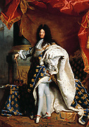 Louis XIV painted in 1701 by Hyacinthe Rigaud (1659 – 1743, Paris)French baroque painter. Louis XIV (1638 – 1715), known as the Sun King was King of France and of Navarre from 1643 to his death in 1715