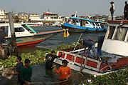 Sinking boat, Chao Phrya River.