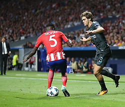 September 27, 2017 - Madrid, Spain - Marcos Alonso of Chelsea vies Thomas Atletico Madrid during the UEFA Champions League group C match between Atletico Madrid and Chelsea FC at Estadio Wanda Metropolitano on September 27, 2017 in Madrid, Spain. (Credit Image: © Ahmad Mora/NurPhoto via ZUMA Press)