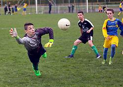 07 April 2018. Blaringhem, Pas de Calais, France.<br /> Phase District Festival U13 Pitch - Festival Foot U13. A tournament of 8 teams.<br /> US Montreuil U13a v A.S. Outreau.<br /> Montreuil a perdu 0-1.<br /> Photo©; Charlie Varley/varleypix.com