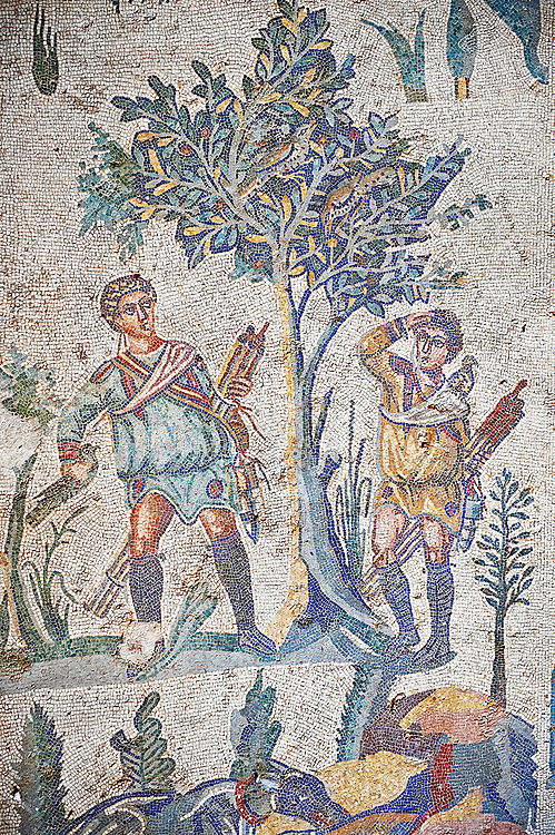 Hunters looking for birds. Roman mosaic floor of the Room of The Small Hunt, no 25 - Roman mosaics at the Villa Romana del Casale ,  circa the first quarter of the 4th century AD. Sicily, Italy. A UNESCO World Heritage Site. .<br /> <br /> If you prefer to buy from our ALAMY PHOTO LIBRARY  Collection visit : https://www.alamy.com/portfolio/paul-williams-funkystock/villaromanadelcasale.html<br /> Visit our ROMAN MOSAICS  PHOTO COLLECTIONS for more photos to buy as buy as wall art prints https://funkystock.photoshelter.com/gallery/Roman-Mosaics-Roman-Mosaic-Pictures-Photos-and-Images-Fotos/G00008dLtP71H_yc/C0000q_tZnliJD08