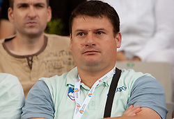 Coach Andrej Hanjsek watches when Martina Ratej of Slovenia competes in the Womens Javelin Final during day three of the 20th European Athletics Championships at the Olympic Stadium on July 29, 2010 in Barcelona, Spain. (Photo by Vid Ponikvar / Sportida)