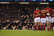The New Zealand team perform the 'Haka'. Rugby World Cup 2015 quarter-final match, New Zealand v France at the Millennium Stadium in Cardiff, South Wales  on Saturday 17th October 2015.<br /> pic by  Andrew Orchard, Andrew Orchard sports photography.