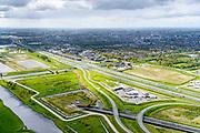 Nederland, Zuid-Holland, Leiderdorp, 28-04-2017; Bospolder, ingang boortunnel HSL-spoorlijn. De tunnel is ook bekend als tunnel onder het Groene Hart<br /> Entrance highspeed train tunnel.<br /> luchtfoto (toeslag op standard tarieven);<br /> aerial photo (additional fee required);<br /> copyright foto/photo Siebe Swart