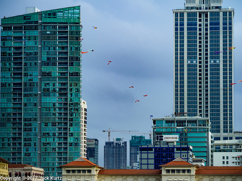 05 OCTOBER 2017 - COLOMBO, SRI LANKA: Kites flying between office towers in Colombo, Sri Lanka.    PHOTO BY JACK KURTZ