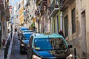 Traditional taxi in Calcada Santana in Lisbon, Portugal