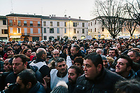 FAENZA, ITALY - 5 JANUARY 2020: Supporters gather around Matteo Salvini, former Interior Minister of Italy and leader of the far-right League party, to take a selfie with him during a campaign in Faenza, Italy, on January 5th 2020.<br /> <br /> Matteo Salvini is campaigning in the region of Emilia Romagna to support the League candidate Lucia Borgonzoni running for governor.<br /> <br /> After being ousted from government in September 2019, Matteo Salvini has made it a priority to campaign in all the Italian regions undergoing regional elections to demonstrate that, in power or not, he still commands considerable support.<br /> <br /> The January 26th regional elections in Emilia Romagna, traditionally the home of the Italian left, has been targeted by Matteo Salvini as a catalyst for bringing down the government. A loss for the center-left Democratic Party (PD) against Mr Salvini's right would strip the centre-left party of control of its symbolic heartland, and probably trigger a crisis in its coalition with the Five Star Movement.