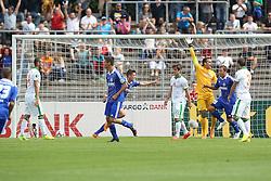 17.08.2014, Donaustadion, Ulm, GER, DFB Pokal, FV Illertissen vs SV Werder Bremen, 1. Runde, im Bild Jubel nach dem 1:1 von Moritz Nebel ( FV Illertissen ) // during the 1st round match of German DFB Pokal between FV Illertissen and SV Werder Bremen at the Donaustadion in Ulm, Germany on 2014/08/17. EXPA Pictures © 2014, PhotoCredit: EXPA/ Eibner-Pressefoto/ Langer<br /> <br /> *****ATTENTION - OUT of GER*****