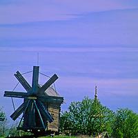 Europe, Russia, Kizhi Island. Wooden windmill on Kizhi Island.
