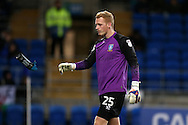 Sheffield Wednesday goalkeeper Cameron Dawson throws his drink bottle.  EFL Skybet championship match, Cardiff city v Sheffield Wednesday at the Cardiff city stadium in Cardiff, South Wales on Wednesday 19th October 2016.<br /> pic by Andrew Orchard, Andrew Orchard sports photography.