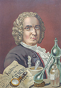 Guillaume François Rouelle (15 September 1703 – 3 August 1770) was a French chemist and apothecary. In 1754 he introduced the concept of a base into chemistry, as a substance which reacts with an acid to give it solid form (as a salt). From the book La ciencia y sus hombres : vidas de los sabios ilustres desde la antigüedad hasta el siglo XIX T. 3  [Science and its men: lives of the illustrious sages from antiquity to the 19th century Vol 3] By by Figuier, Louis, (1819-1894); Casabó y Pagés, Pelegrín, n. 1831 Published in Barcelona by D. Jaime Seix, editor , 1879 (Imprenta de Baseda y Giró)