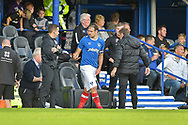 Portsmouth Forward, Brett Pitman (8) comes back on to the pitch after receiving treatment injured during scoring during the EFL Sky Bet League 1 match between Portsmouth and Fleetwood Town at Fratton Park, Portsmouth, England on 16 September 2017. Photo by Adam Rivers.