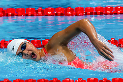 BUDAPEST, Oct. 5, 2018  Wang Jianjiahe of China competes in the Women's 400m Freestyle final of the FINA Short Course Swimming World Cup in Budapest, Hungary on Oct. 4, 2018. Wang Jianjiahe won the gold with a new World Record of 3 minutes and 53.97 seconds. (Credit Image: © Attila Volgyi/Xinhua via ZUMA Wire)