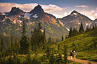 Two hikers in Paradise Meadows looking at the Tatoosh Range, Mount Rainier Nationap Park, WA, USA
