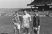 Referee alongside captains of both teams before kick off at the All Ireland Senior Hurling Final, Cork v Kilkenny in Croke Park on the 3rd September 1972. Kilkenny 3-24, Cork 5-11.