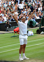 Tennis - 2021 All England Championships - Week One - Day Six (Saturday) - Wimbledon<br /> Mens Singles<br /> Roger Federer v Cameron Norrie<br /> <br /> Roger Federer celebrates winning the match <br /> <br /> <br /> CreditCOLORSPORT/Andrew Cowie
