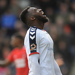 TELFORD COPYRIGHT MIKE SHERIDAN 23/3/2019 - Amari Morgan Smith of AFC Telford shows his frustration during the FA Trophy Semi Final fixture between AFC Telford United and Leyton Orient at the New Bucks Head