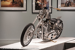 Paul Yaffe's Sailor Jerry inspired 2010 Harley-Davidson Twin Cam chopper in Michael Lichter's Skin & Bones tattoo inspired Motorcycles as Art show at the Buffalo Chip Gallery during the annual Sturgis Black Hills Motorcycle Rally. SD, USA. August 10, 2016. Photography ©2016 Michael Lichter.