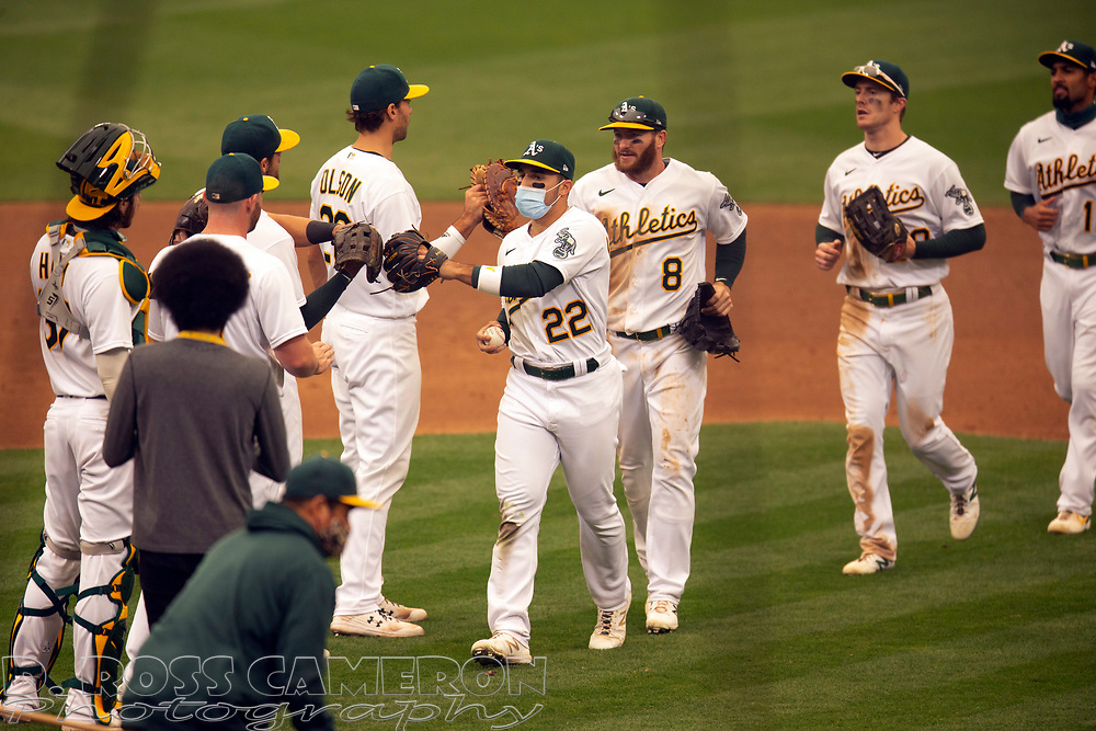 Sep 10, 2020; Oakland, California, USA; Oakland Athletics players celebrate their 3-1 victory over the Houston Astros in a baseball game at Oakland Coliseum. Mandatory Credit: D. Ross Cameron-USA TODAY Sports