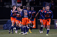 FOOTBALL - FRENCH CHAMPIONSHIP 2009/2010 - L1 - MONTPELLIER HSC v OLYMPIQUE MARSEILLE - 30/01/2010 - PHOTO PHILIPPE LAURENSON / DPPI - JOY MONTPELLIER PLAYERS AFTER KARIM AIT FANA (MON)