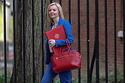March 17, 2020, London, England, United Kingdom: International Trade Secretary Liz Truss leaves Downing Street, London, on Tuesday, Mar 17, 2020 - the day after Prime Minister Boris Johnson called on people to stay away from pubs, clubs and theatres, work from home if possible and avoid all non-essential contacts and travel in order to reduce the impact of the coronavirus pandemic. (Credit Image: © Vedat Xhymshiti/ZUMA Wire)