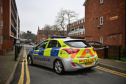 © Licensed to London News Pictures. 09/01/2018. London, UK. The scene in Stoke Newington where a 34 year old man has died after being assaulted. Officers arrived and found the victim suffering from stab injuries. He was taken to an east London hospital by ambulance where he died just before midnight on 8/1/2018. A murder investigation has been launched. Photo credit: Ben Cawthra/LNP