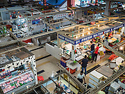 27 DECEMBER 2015 - SINGAPORE, SINGAPORE:  An overview of the seafood section of Tekka Market. First opened in 1915, the market was moved to its present location in 1982 and renovated in 2009. It is one of the most famous hawker stall (street food) areas in Singapore.    PHOTO BY JACK KURTZ