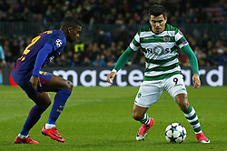 December 5, 2017 - Barcelona, Catalonia, Spain - Marcos Acuna and Nelson Semedo during the UEFA Champions League match between FC Barcelona v Sporting CP, in Barcelona, on December 05, 2017. (Credit Image: © Joan Valls/NurPhoto via ZUMA Press)