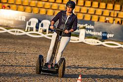 """WERTH Isabell (GER)<br /> Segway Rennen<br /> Charity-Showwettkampf mit Promis & Teilnehmern<br /> """"Reiten gegen Hunger""""<br /> Balve Optimum - Deutsche Meisterschaft Dressur 2020<br /> 19. September2020<br /> © www.sportfotos-lafrentz.de/Stefan Lafrentz"""