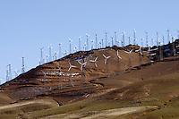 Wind turbine farm - western edge of the Mojave Desert, California.
