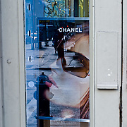 Chanel ad sign in a shop.
