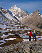 Sue Ellis and Dan Metz overlooking Mount Athabasca and the Horn of Athabasca, Banff National Park, Alaberta, Canada.    (MR)
