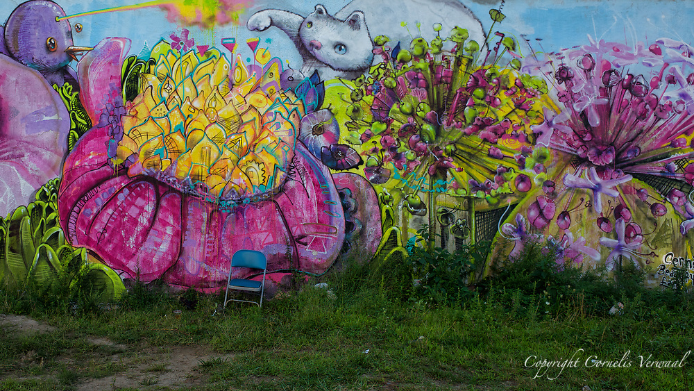 """Mural by Cernesto, a work of  """"Beautify Earth""""  2014, on Rockaway Beach at 91st Street."""