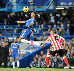 14.11.2010, Stamford Bridge, London, ENG, PL, FC Chelsea vs FC Sunderland, im Bild Chelsea`s Didier Drogba  controls under the eye of Sunderland's Michael Turner Chelsea vs Sunderland  in the Barclays Premier League  at Stamford Bridge stadium in London on 14/11/2010. EXPA Pictures © 2010, PhotoCredit: EXPA/ IPS/ Rob Noyes +++++ ATTENTION - OUT OF ENGLAND/UK +++++