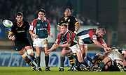 Wycombe. GREAT BRITAIN, 5th December 2004. Heineken Cup Rugby  London Wasps and Leicester Tigers,  Adams Park, ENGLAND, [Mandatory Credit; Peter Spurrier/Intersport-images].<br /> <br /> Neil back acts as scrum half
