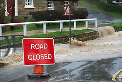 © Licensed to London News Pictures. 25/11/2012..North East England..Heavy overnight rain caused traffic disruption and flooding in parts of Cleveland and North Yorkshire this morning including here in Loftus, North Yorkshire...Photo credit : Ian Forsyth/LNP