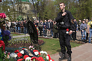 Moscow, Russia, 09/05/2006..Members of the Movement Against Illegal Immigration lay flowers at a war memorial, as Russians celebrated the 61st anniversary of the end of the Second World War, generally referred to in Russia as the Great Patriotic War.