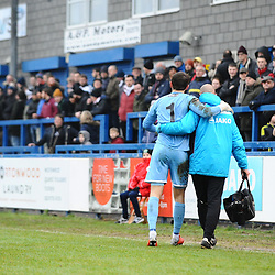 TELFORD COPYRIGHT MIKE SHERIDAN 19/1/2019 - Brandon Hall is helped off after a clash with Dan Udoh during the Vanarama Conference North fixture between AFC Telford United and Kidderminster Harriers