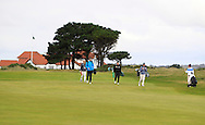 Walking down the 2nd fairway with the GUI National panel players who are taking part in the Walker cup next week practicing with Neil Manchip and Tony Goode at Portmarnock on Wednesday 2nd September 2015.<br /> Picture:  Thos Caffrey / www.golffile.ie