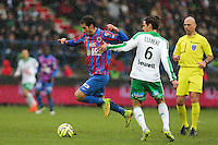 Nicolas SEUBE / Jeremy CLEMENT - 01.02.2015 - Caen / Saint Etienne - 23eme journee de Ligue 1 -<br />Photo : Vincent Michel / Icon Sport