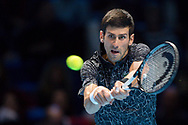 Novak Djokovic of Serbia in action during the Nitto ATP World Tour Finals at the O2 Arena, London, United Kingdom on 16 November 2018. Photo by Martin Cole