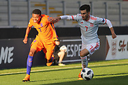 Nigel Thomas of Netherlands (7) takes on Alejandro Baena Rodr?guez of Spain (7) during the UEFA European Under 17 Championship 2018 match between Netherlands and Spain at the Pirelli Stadium, Burton upon Trent, England on 8 May 2018. Picture by Mick Haynes.