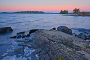 Dawn on shore of Lake of The Woods<br />
