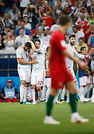 Diego costa (L) of Spain celebrates after his goal with Isco during the 2018 FIFA World Cup Russia, Group B football match between Portugal and Spain on June 15, 2018 at Fisht Stadium in Sotschi, Russia - Photo Tarso Sarraf / FramePhoto / ProSportsImages / DPPI