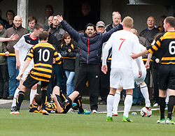 Alloa Athletic's manager Paul Hartley cries fro a foul.<br /> Half time : Alloa Athletic 0 v 0 Falkirk, Scottish Championship 12/10/2013. played at Recreation Park, Alloa.<br /> ©Michael Schofield.